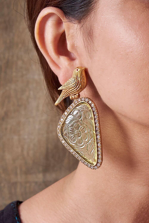 Jade Bird Earrings