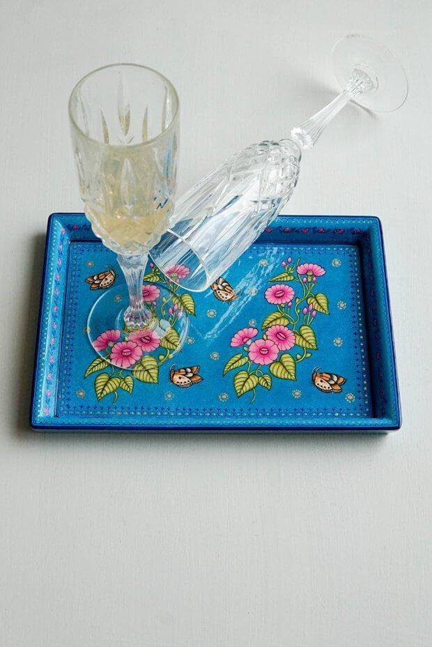 Carolina blue floral tray