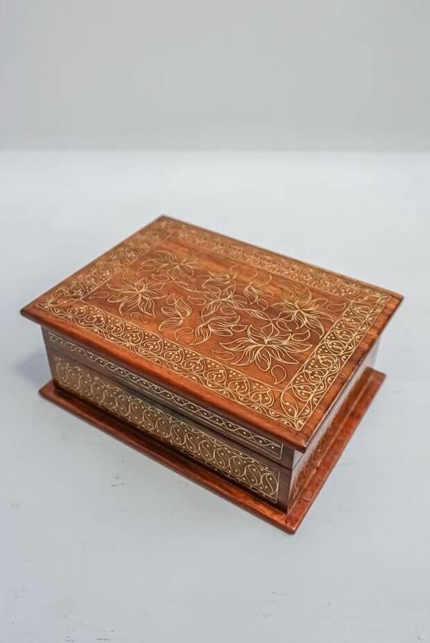 "Indian Lotus Wooden Box (7"" x 4"" x 2.5"")"