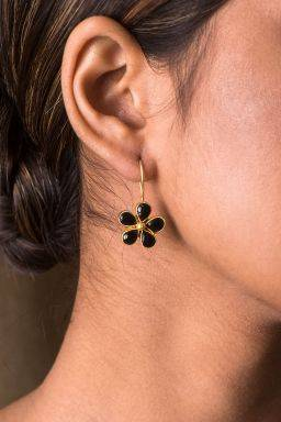 Raisin Black Floral Earrings