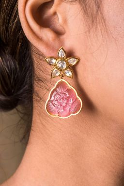 Chinese Bellflower Rose Earrings