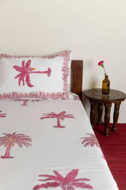 Delphine Tropical Palm Single Bedsheet with Pillow Cover