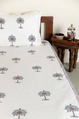 Freya Tropical Palm Single Bedsheet with Pillow Cover