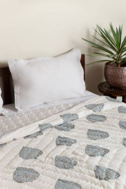 Floral Leaf Block Printed Reversible Double Quilt