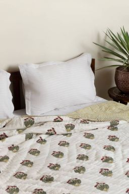 Ambrosial Block Printed Reversible Double Quilt
