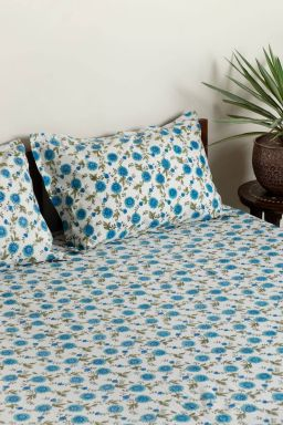 Ayana Floral Bedsheet (With Pillow Covers)