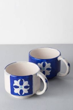 Cobalt Floral Coffee Mugs (set of 2)