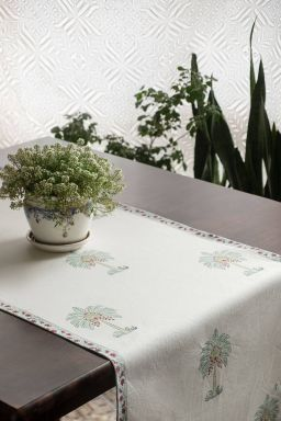 Aqua Tropical Palm Table Runner