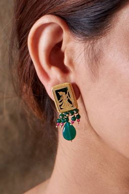 Meenakshi Emerald Coloured Earrings