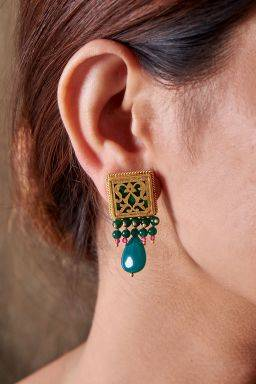 Myra Emerald Coloured Earrings