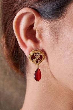 Ruby Coloured Teardrop Earrings