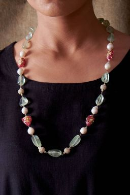 Fluorite and Pearl Necklace
