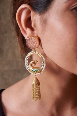 Peacock Tassle Earrings