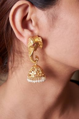 Ganpati Brass Earrings