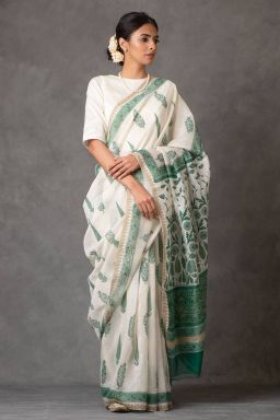 Verdant Chanderi Silk saree (with Blouse)