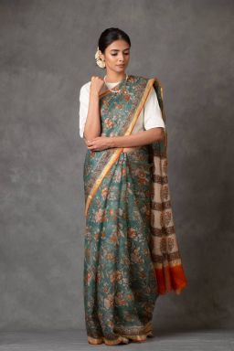 Floral Green Kota Silk Saree (with Blouse)