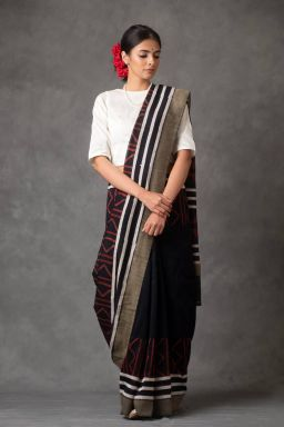 Tribal Block Printed Saree (with Blouse)