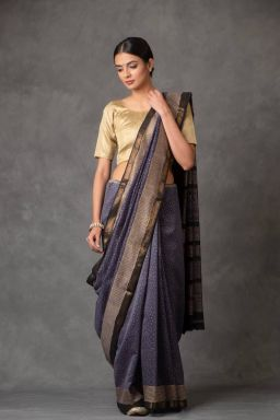 Midnight Blue Saree (with Blouse)