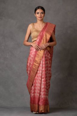 Blush and Golden Tussar Silk Saree