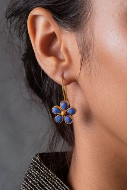 Cerulean Gold Floral Earrings