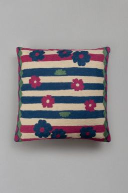"Amaranth Floral Cushion (16''x15"")"