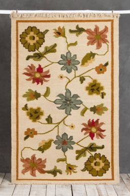 Floral Hand-Knotted Rug (5ft x 3ft)
