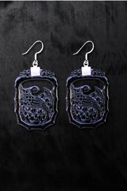 Black Onyx Eagle Earrings