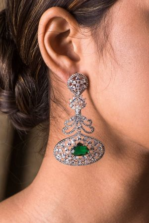Fleur De Lis Emerald Earrings