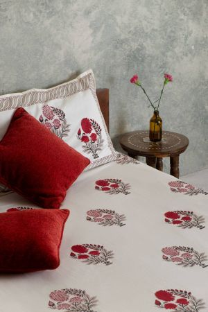 Red Dahlias Double Bedsheet with Pillow Covers