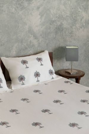 Freya Tropical Palm Double Bedsheet with Pillow Covers