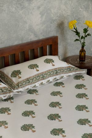 Haruki Trees Double Bedsheet with Pillow Covers