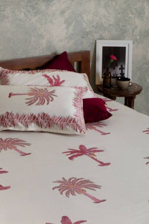 Delphine Tropical Palm Double Bedsheet with Pillow Covers