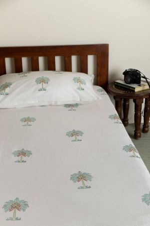 Aqua Tropical Palm Single Bedsheet with Pillow Cover