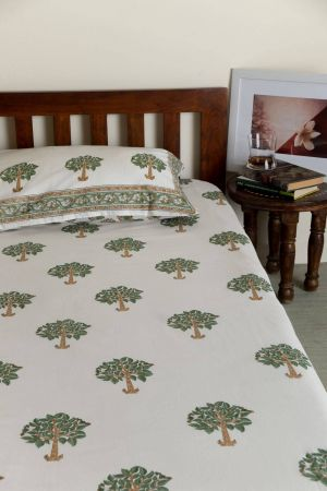 Haruki Trees Single Bedsheet with Pillow Cover