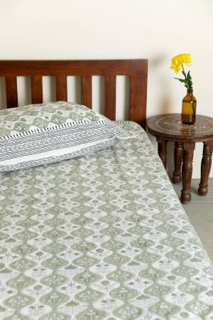 Aase Verdant Single Bedsheet with Pillow Cover