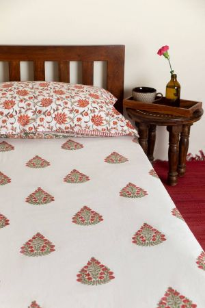 Jarek Floral Booti Single Bedsheet with Pillow Cover