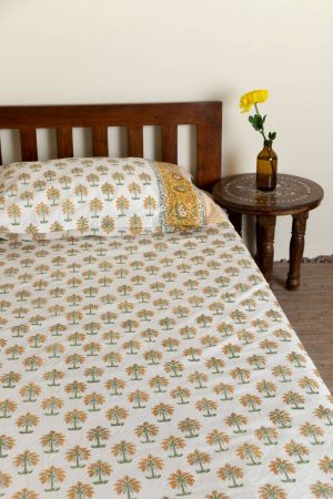 Amber Tropical Palm Single Bedsheet with Pillow Cover