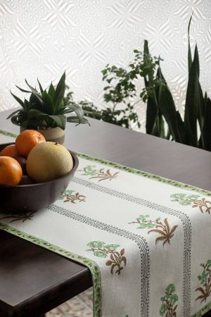 Parakeet Floral Motif Table Runner