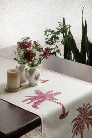 Delphine Tropical Palm Table Runner