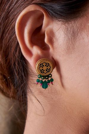 Ahana Emerald Coloured Earrings