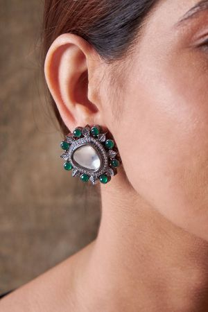 Emerald Kundan Earrings