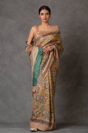Garth Tussar Silk Saree (with Blouse)