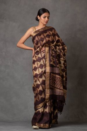 Hickory and Golden Tussar Silk Saree
