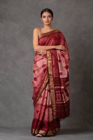 Wine Shibori Tussar Silk Saree (with Blouse)