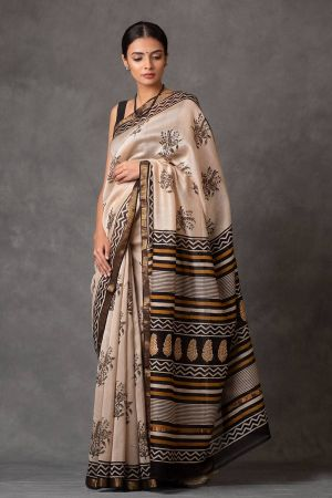 Ivory Floral Chanderi Saree
