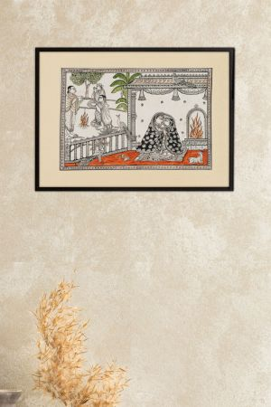 """Love in winter Pattachitra Painting ( 13"""" x 19.1"""" Unframed )"""