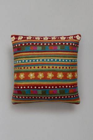"Ahmar Embroidered Cushion (16''x15"")"