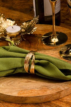 Sojitra Twin Leaf Napkin Rings (Set of 2)