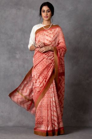 Nadeya Shibori Chanderi Saree (with Blouse)