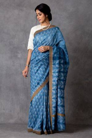 Talaia Shibori Chanderi Saree (with Blouse)
